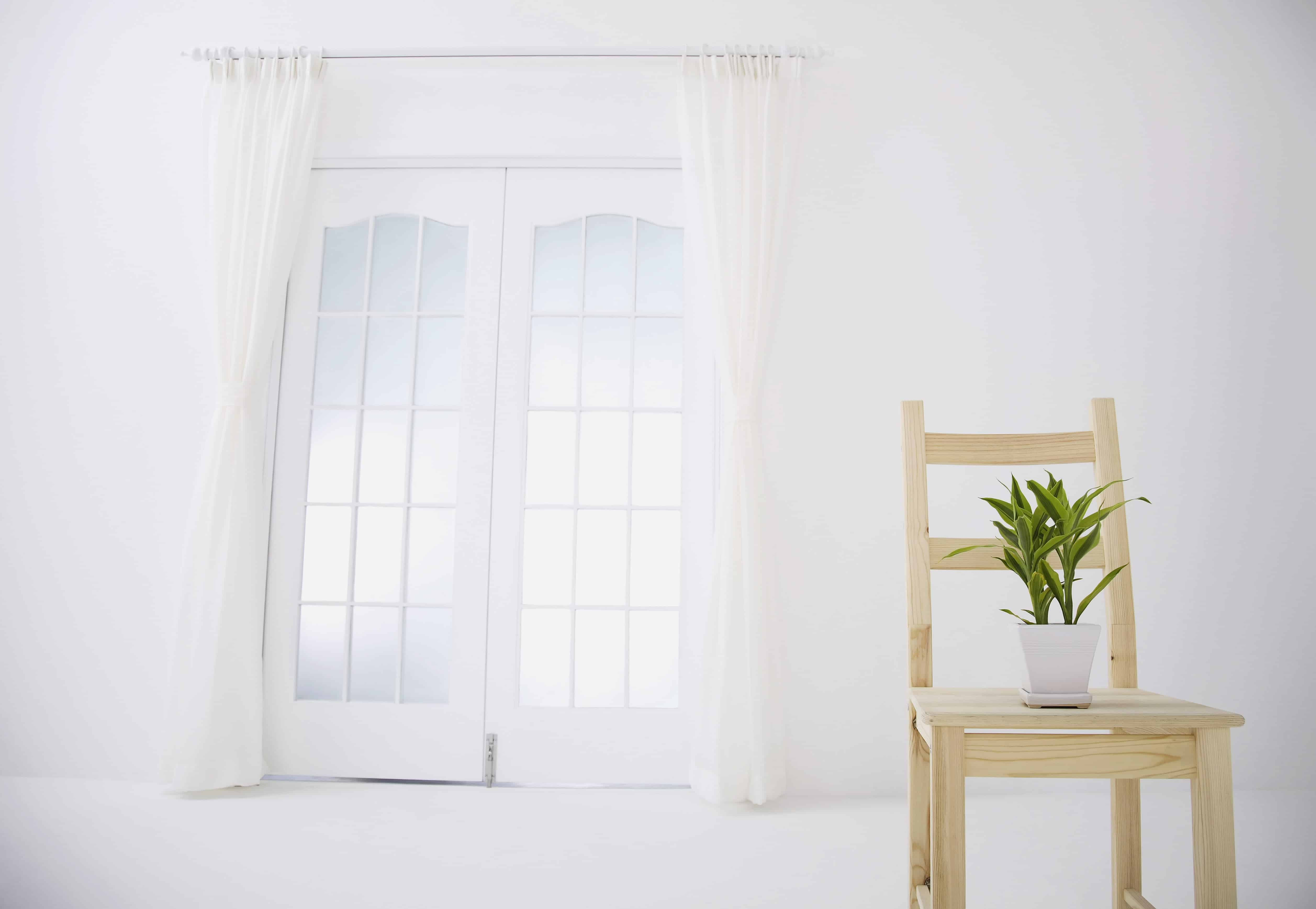 clean white curtains